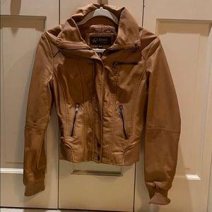 Ci Sono cognac faux leather moto jacket